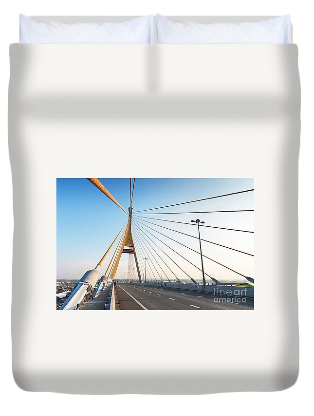 Architectural Duvet Cover featuring the photograph Bhumipol Bridge by Atiketta Sangasaeng