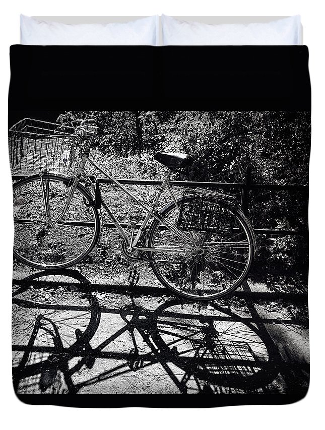 Bicycle Duvet Cover featuring the photograph Bicycle Shadow 1 by Madeline Ellis