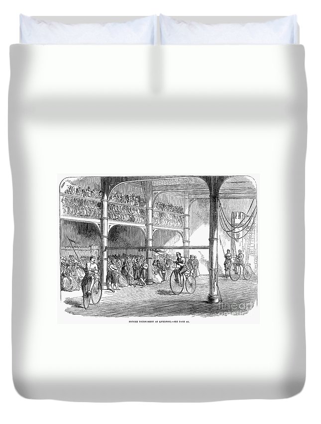 1869 Duvet Cover featuring the photograph Bicycle Tournament, 1869 by Granger
