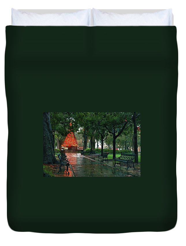Alabama Photographer Duvet Cover featuring the digital art Bienville Square by Michael Thomas