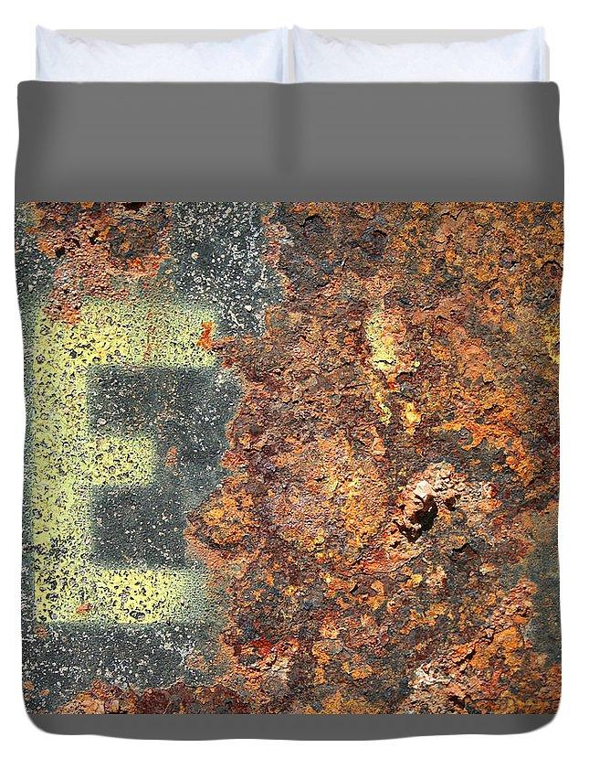 Rust Duvet Cover featuring the photograph Big E by Ric Bascobert