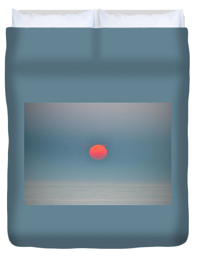 Big Red Sun Duvet Cover featuring the photograph Big Red Sun - Sea Isle New Jersey by Bill Cannon