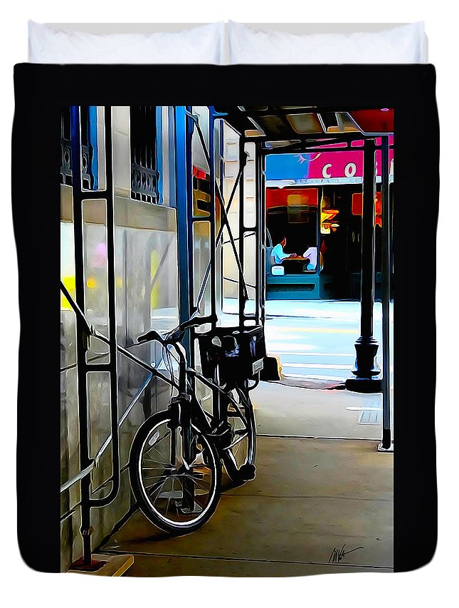 Bike Duvet Cover featuring the photograph Bike - Scaffold - Lunchers - Water Color Conversion by Mark Valentine