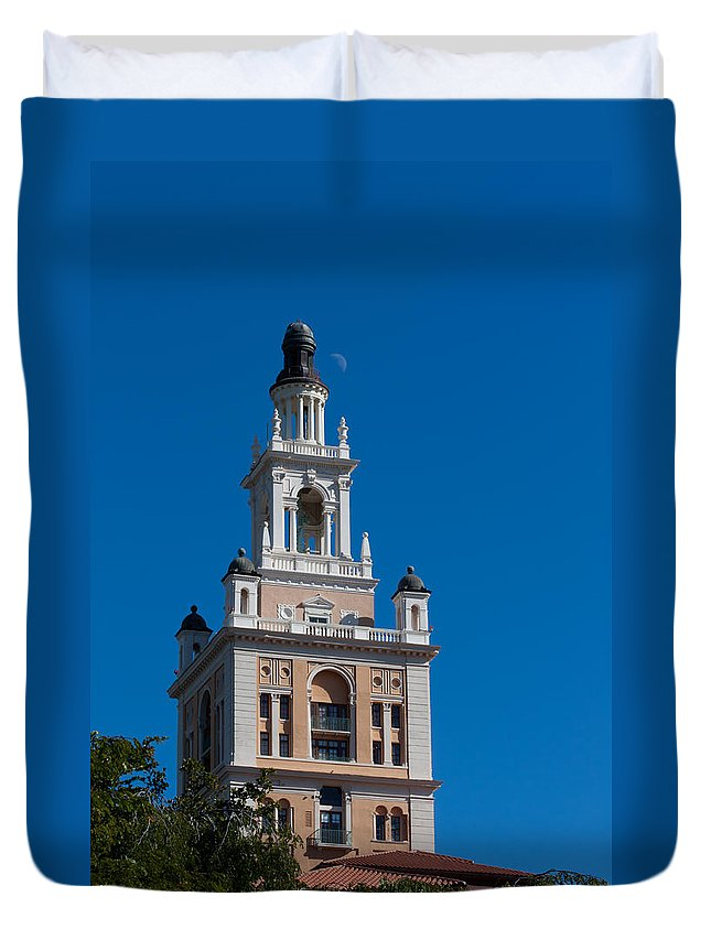 Biltmore Duvet Cover featuring the photograph Biltmore Hotel Tower And Moon by Ed Gleichman