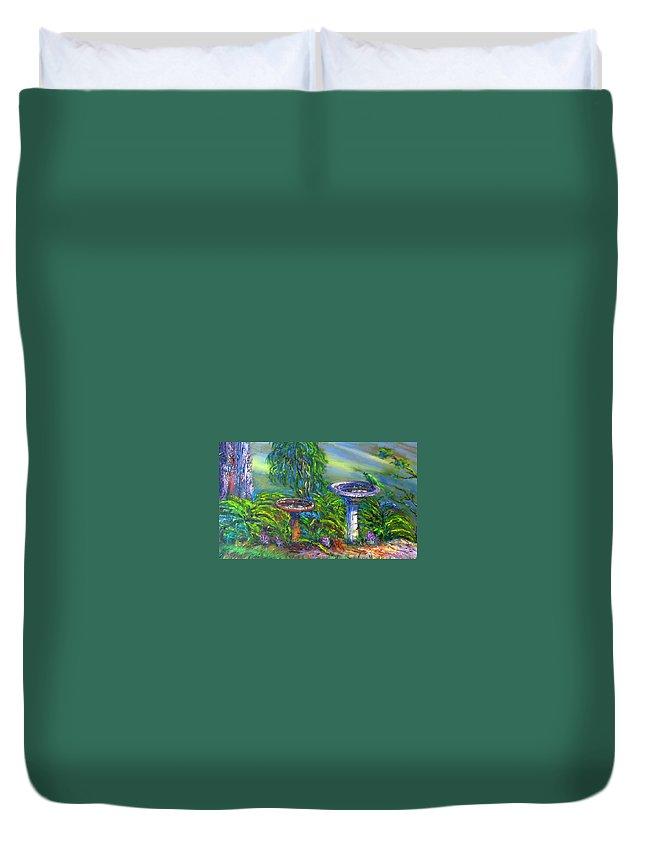 Bird Baths Duvet Cover featuring the painting Bird Baths by Diane Quee