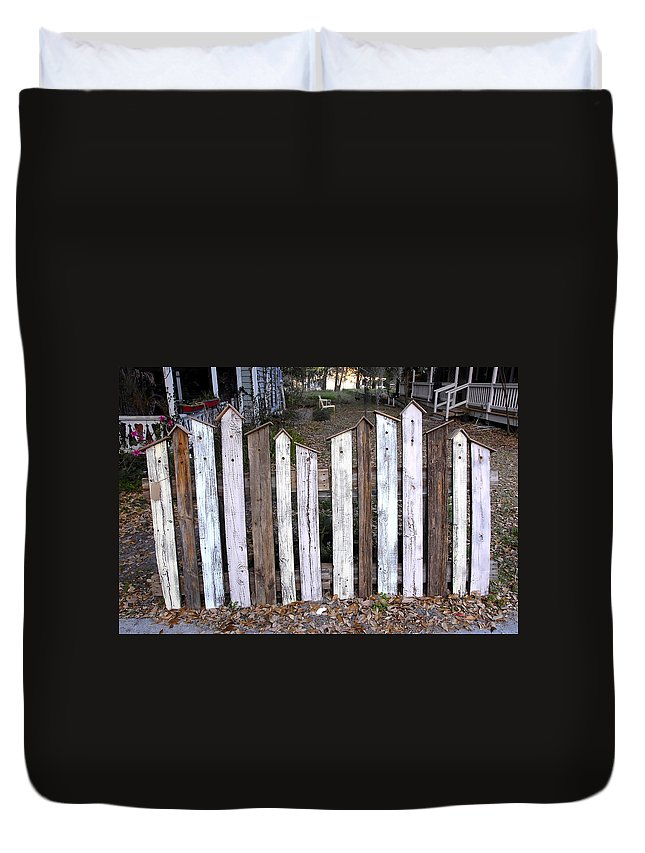 Fine Art Photography Duvet Cover featuring the photograph Bird House Fence With Black Cat by David Lee Thompson