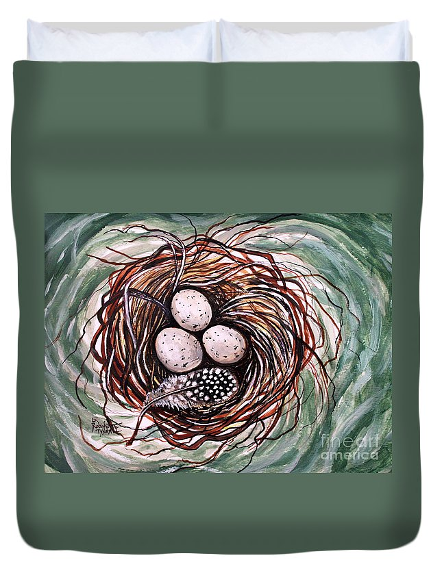Bird Nest Duvet Cover featuring the painting Bird Nest And A Feather by Elizabeth Robinette Tyndall