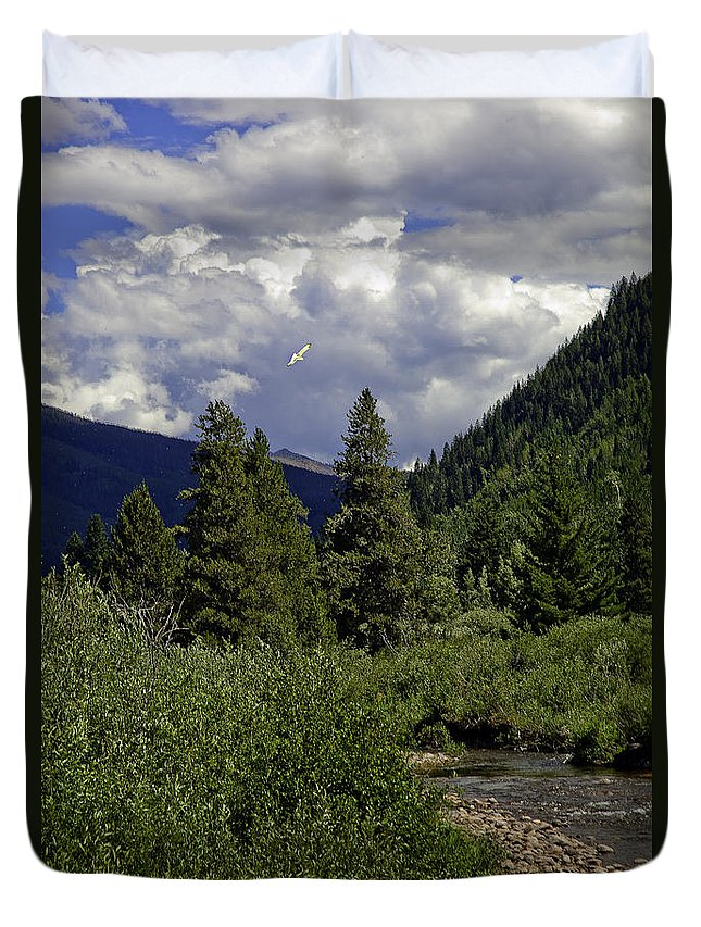 Vail Duvet Cover featuring the photograph Bird Over Vail 1 by Madeline Ellis