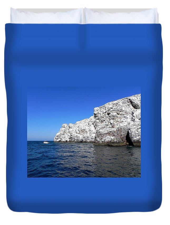 Ocean Duvet Cover featuring the photograph Bird Rock by Christie Starr Featherstone