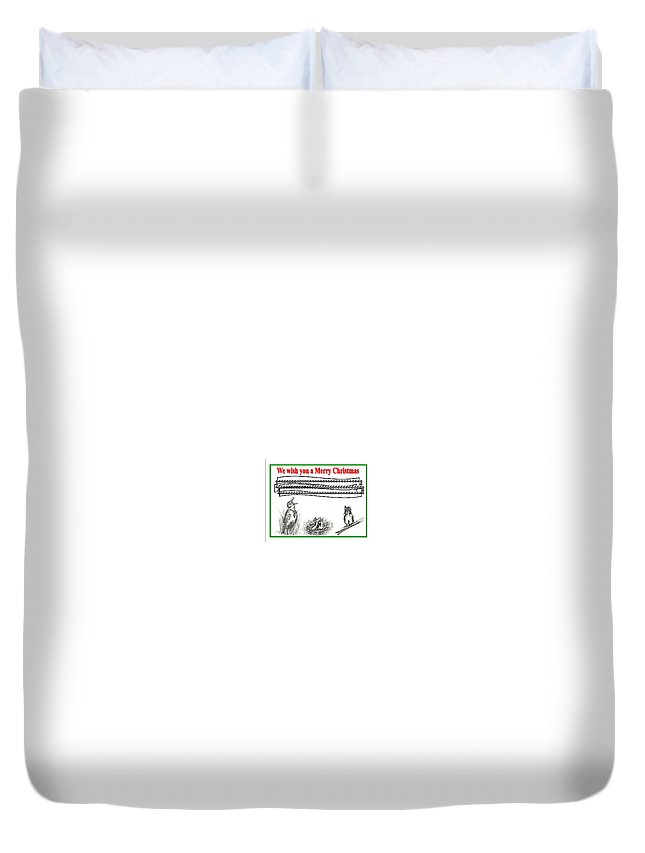 Drawing Duvet Cover featuring the drawing Bird Song For Christmas by Carol Allen Anfinsen
