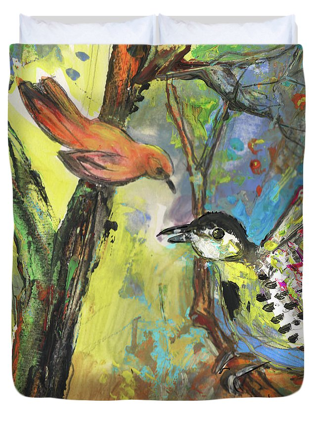 Animals Duvet Cover featuring the painting Birds 03 by Miki De Goodaboom
