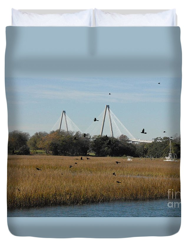 Arthur Ravenel Duvet Cover featuring the photograph Birds And Bridge by Melody Jones