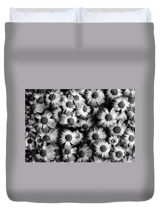 Flowers Duvet Cover featuring the photograph Black And White Flowers by Sumit Mehndiratta