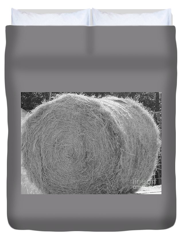 Livestock Duvet Cover featuring the photograph Black And White Hay Ball by Michelle Powell
