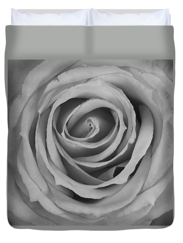 Spiral Duvet Cover featuring the photograph Black And White Spiral Rose Petals by James BO Insogna