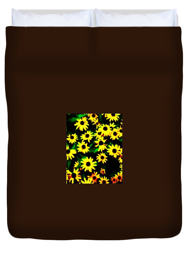Flower Duvet Cover featuring the digital art Black Eyed Susan by Tina Meador