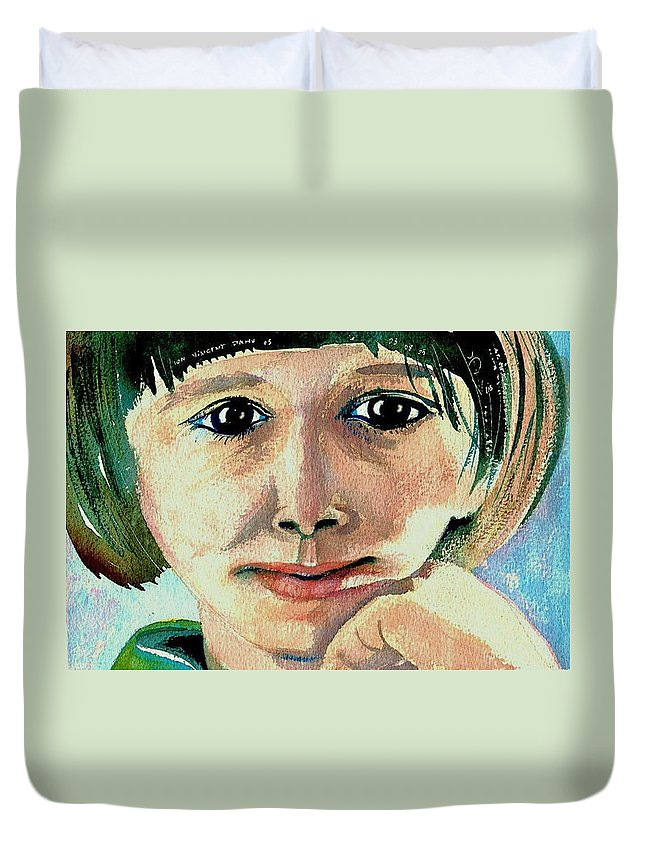 Portraits Duvet Cover featuring the painting Black Eyed Young Girl by Ion vincent DAnu
