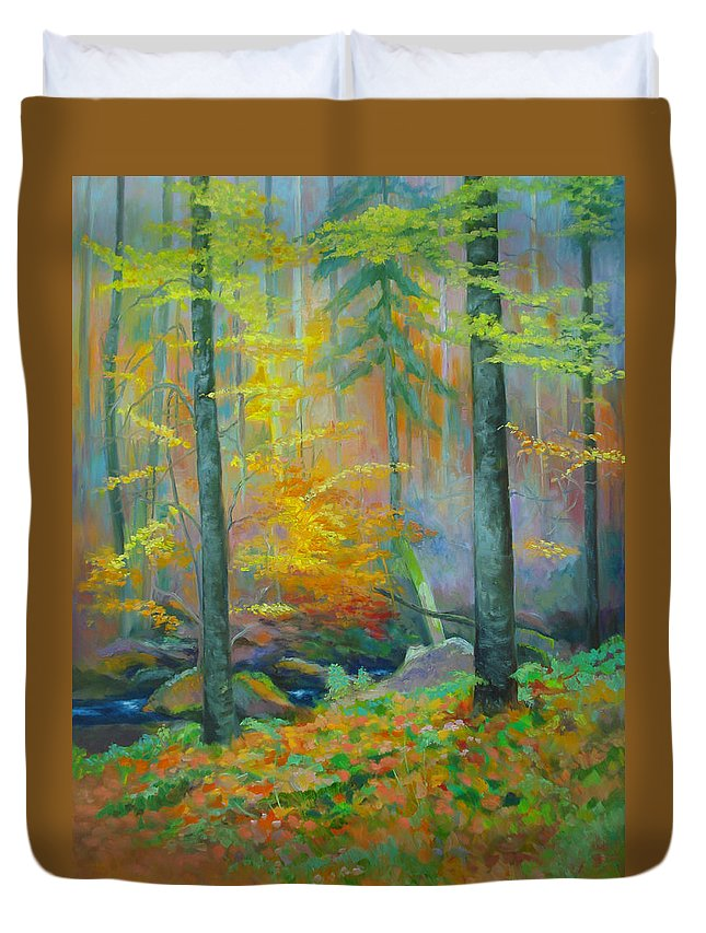Forest Duvet Cover featuring the painting Black Forest Stream by Dai Wynn