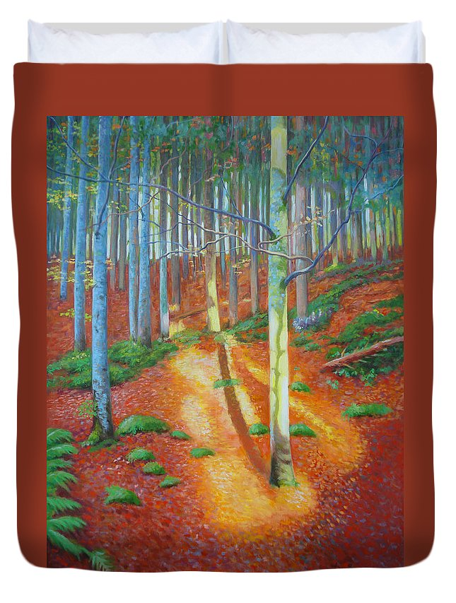 Forest Duvet Cover featuring the painting Black Forest Sunset by Dai Wynn