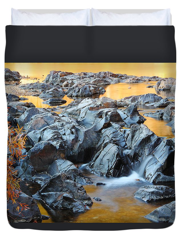 Black River Duvet Cover featuring the photograph Black River Reflections At Johnsons Shut Ins State Park Vi by Greg Matchick