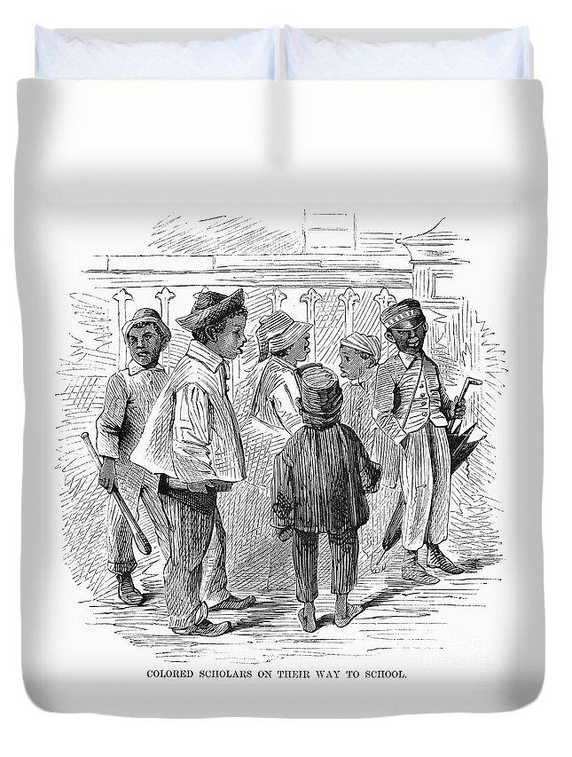 1867 Duvet Cover featuring the photograph Black School Children by Granger