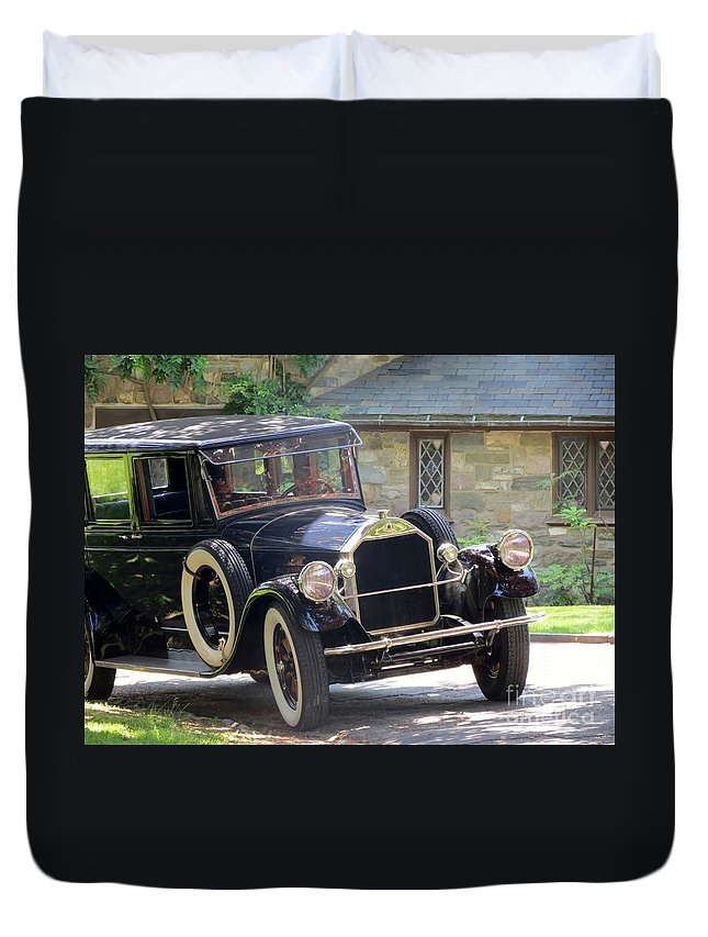 Model Duvet Cover featuring the photograph Black T by Art Dingo
