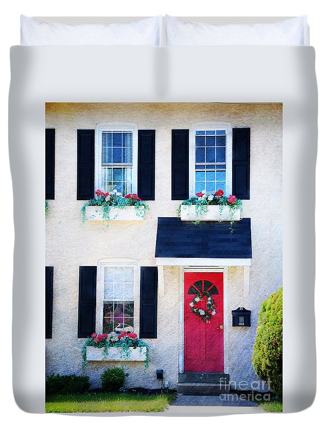 Red Duvet Cover featuring the photograph Black Window Shutters With Flowers by Paul Ward