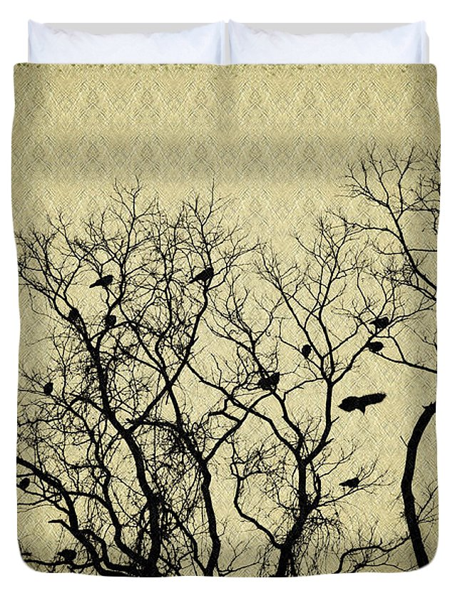 Blackbirds Roost Duvet Cover featuring the photograph Blackbirds Roost by Bill Cannon