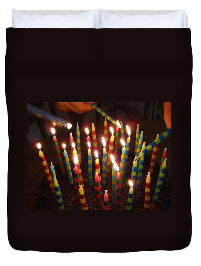 Birthday Duvet Cover featuring the photograph Blazing Amazing Birthday Candles by Kathy Clark