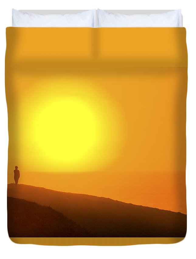 Blazing Sun Duvet Cover featuring the photograph Blazing Sun by Wes and Dotty Weber