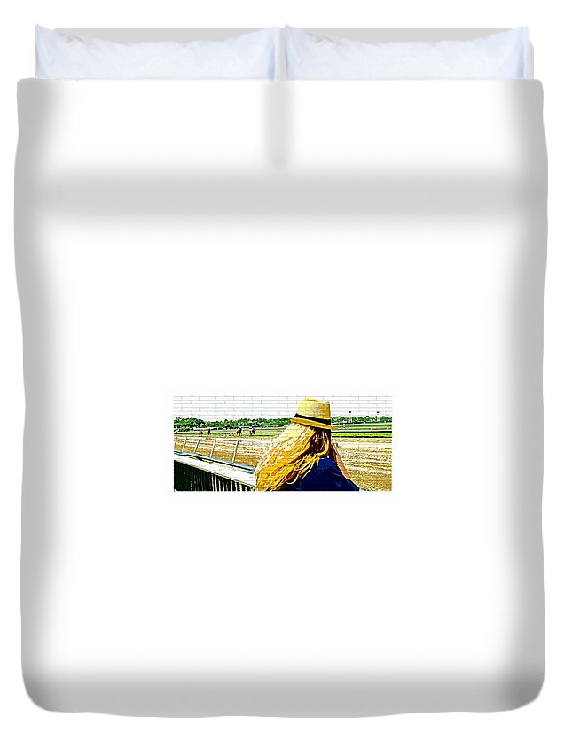 Blonde Racetrack Duvet Cover featuring the photograph Blonde At Racetrack by Alice Gipson