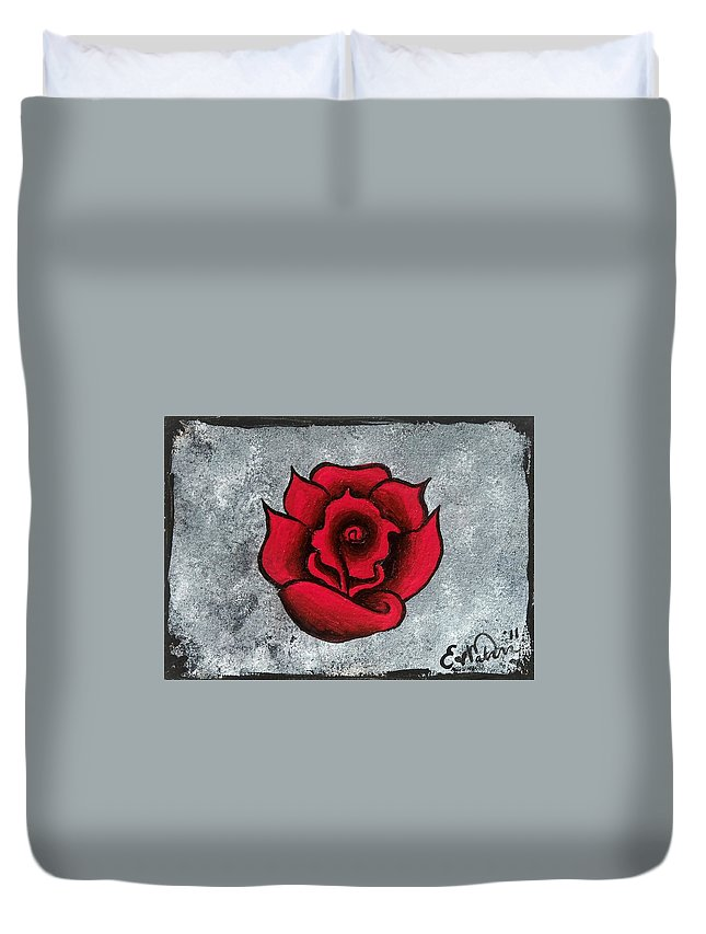 Rose Duvet Cover featuring the painting Blooming Beauty by Oddball Art Co by Lizzy Love