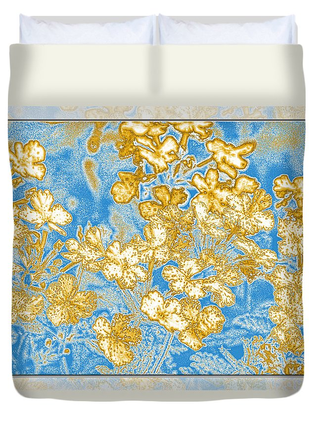 Abstract Duvet Cover featuring the digital art Blue And Gold Floral Abstract by Debbie Portwood