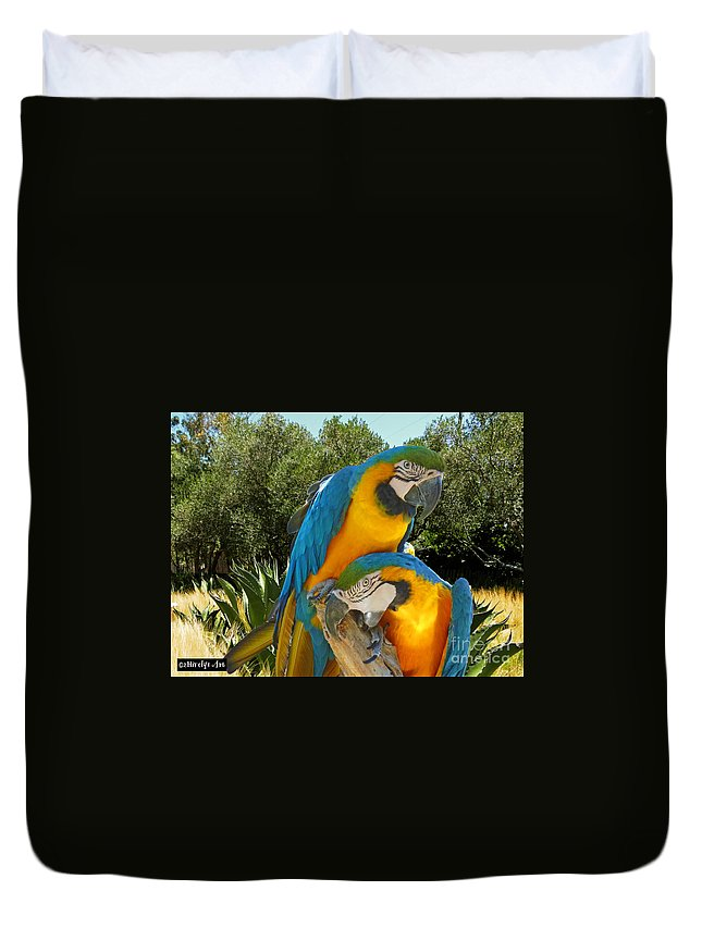 Blue And Gold Macaws Duvet Cover featuring the photograph Blue And Gold Macaws by Methune Hively