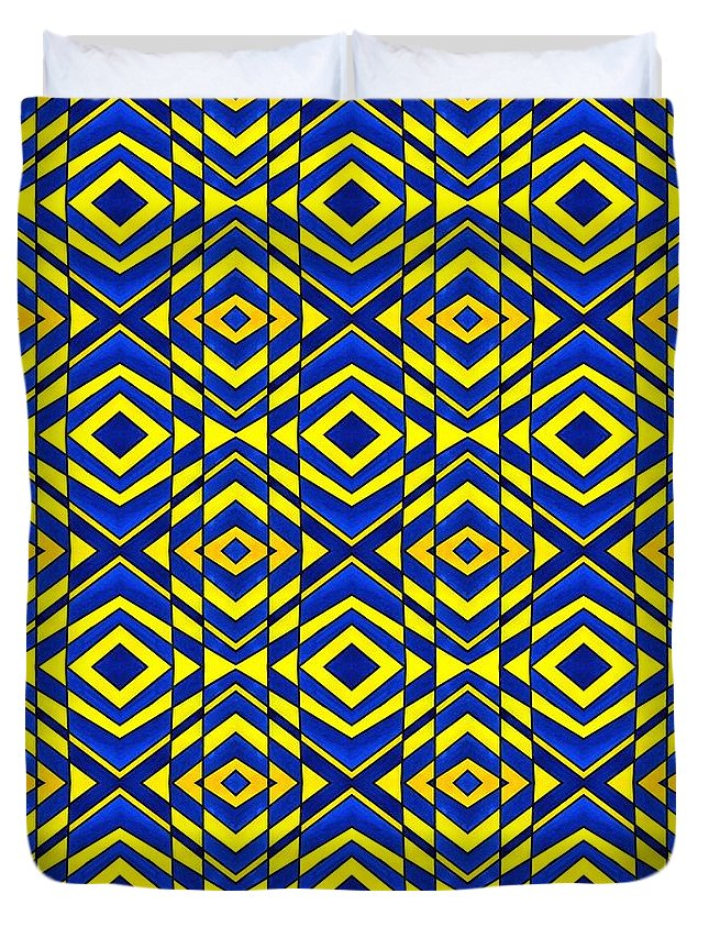 Chevron Duvet Cover featuring the painting Blue And Yellow Chevron Pattern by Hakon Soreide
