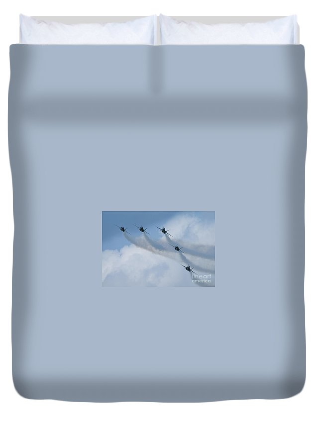 Blue Angels Duvet Cover featuring the photograph Blue Angel Join Up by Tim Mulina