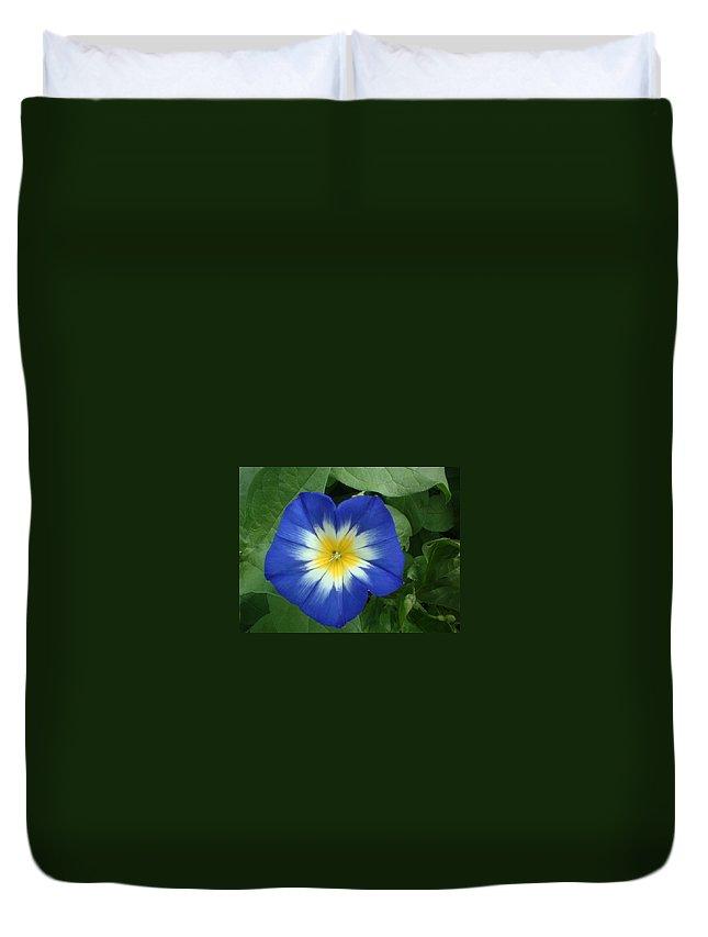 Flower Duvet Cover featuring the photograph Blue Burst by Bonfire Photography