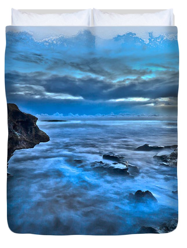 Blowing Rocks Duvet Cover featuring the photograph Blue Dawn by Debra and Dave Vanderlaan