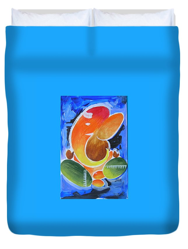 Elephant God Duvet Cover featuring the painting Blue Elephant Abstraction by Chintaman Rudra