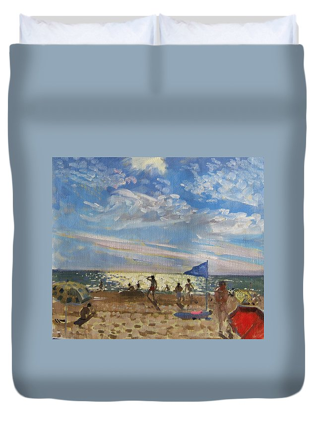 Seaside Duvet Cover featuring the painting Blue Flag And Red Sun Shade by Andrew Macara