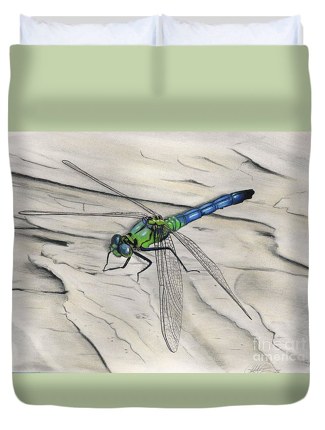 Dragonfly Duvet Cover featuring the drawing Blue-green Dragonfly by Christian Conner