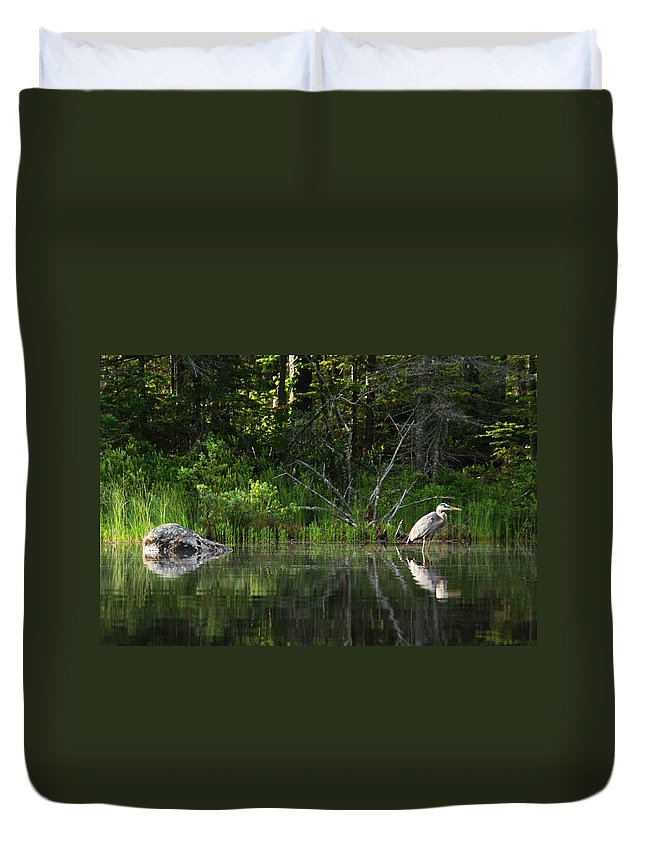 White Mountain Duvet Cover featuring the photograph Blue Heron Long Pond Wmnf by Benjamin Dahl