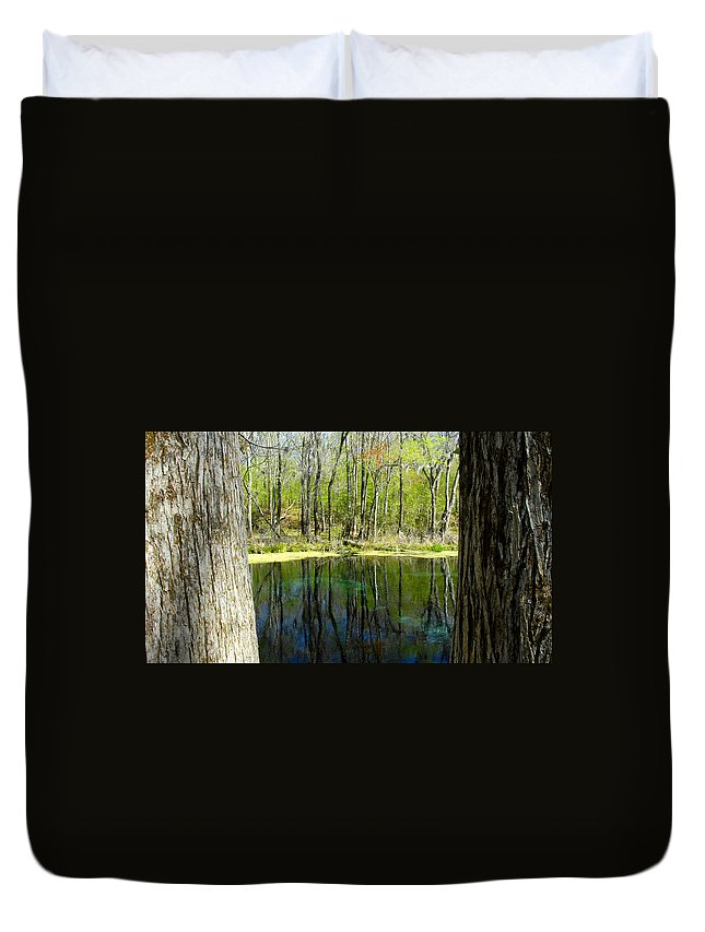 Fine Art Photography Duvet Cover featuring the photograph Blue Hole Springs Florida by David Lee Thompson
