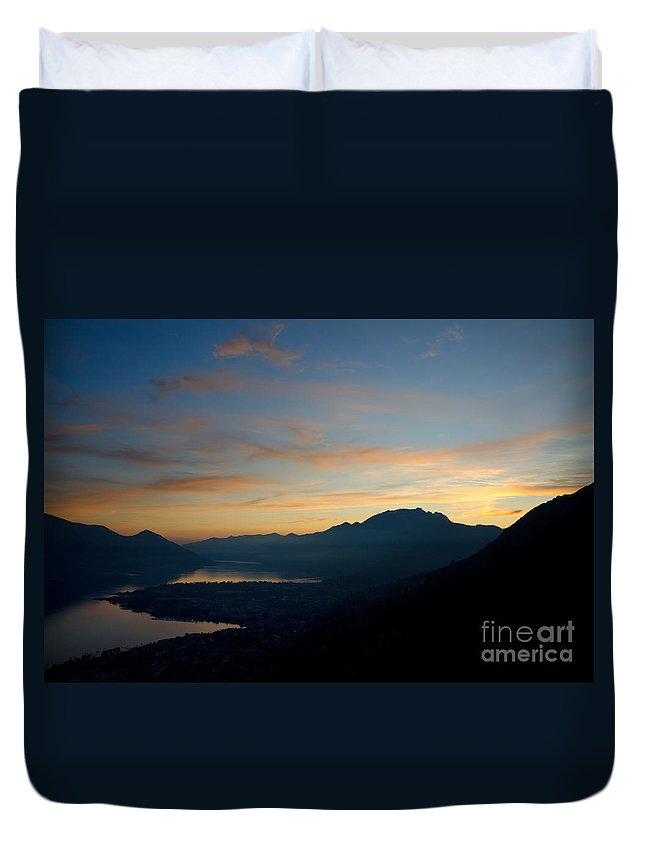 Sunset Duvet Cover featuring the photograph Blue Hour Over The Mountain by Mats Silvan