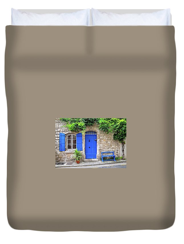 Blue Window Duvet Cover featuring the photograph Blue In Provence France by Dave Mills