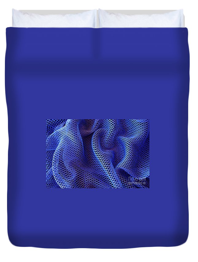 Abstract Duvet Cover featuring the photograph Blue Net Background by Carlos Caetano