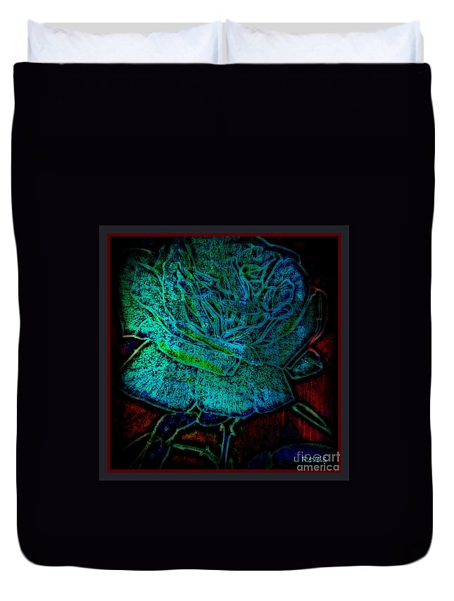 Abstract Duvet Cover featuring the photograph Blue Rose II by Leslie Revels