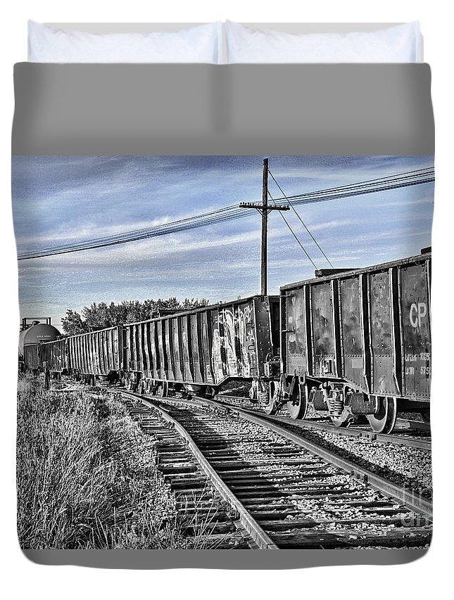 Blue Sky Duvet Cover featuring the digital art Blue Sky Train2 by Lori Frostad