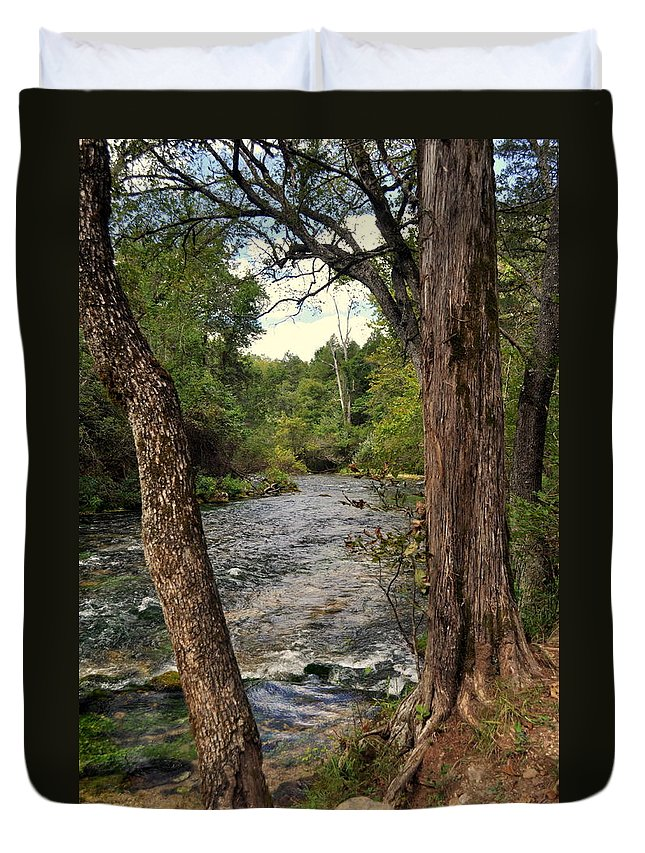 Stream Duvet Cover featuring the photograph Blue Spring Branch by Marty Koch