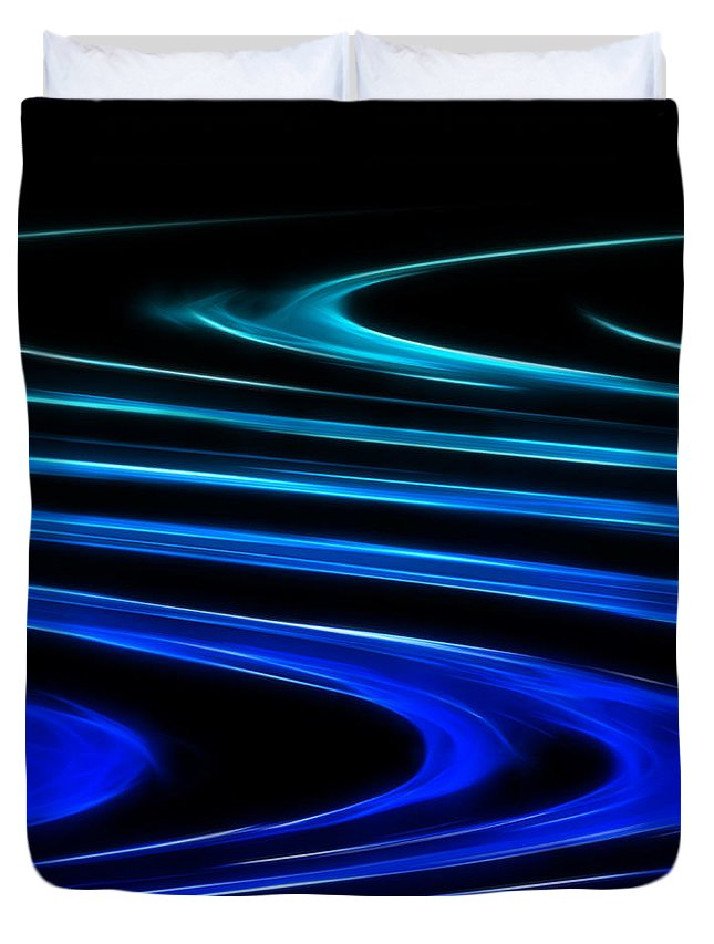 Abstract Duvet Cover featuring the digital art Blue Waves by Ricky Barnard